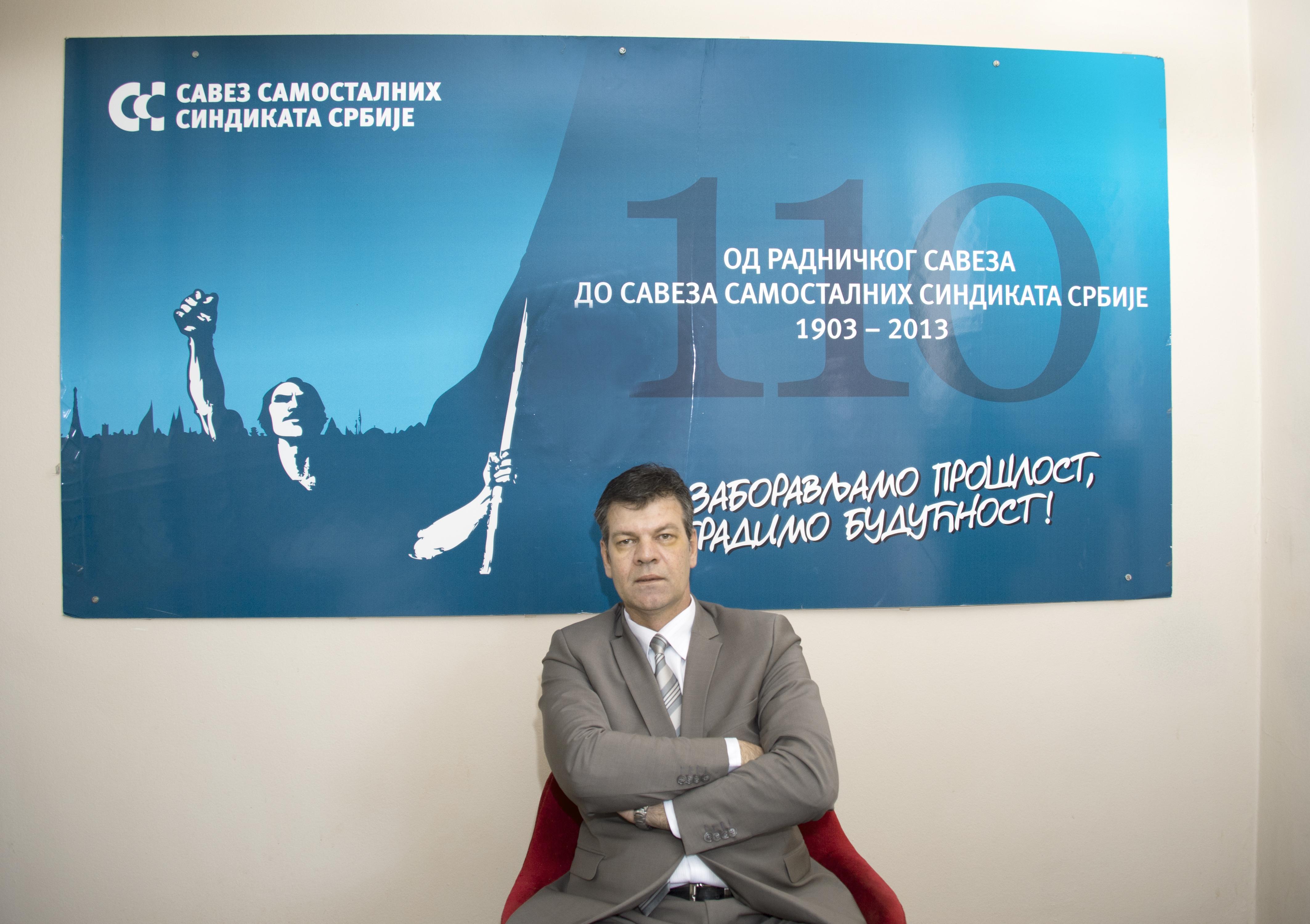 Dusko Vukovic,vice ordförande för Serbiens största fackliga centralorganisation, Catus. Foto: Denny Lorentzen.